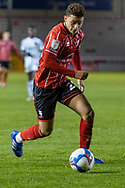 Lincoln City Midfielder Brennan Johnson (20) on the ball during the EFL Sky Bet League 1 match between Lincoln City and Shrewsbury Town at Sincil Bank, Lincoln, United Kingdom on 15 December 2020.