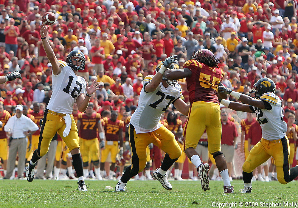September 12, 2009: Iowa quarterback Richard Stanzi (12) in the third quarter of the Iowa Hawkeyes' 35-3 win over the Iowa State Cyclons at Jack Trice Stadium in Ames, Iowa on September 12, 2009.