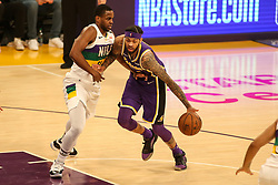 February 27, 2019 - Los Angeles, CA, U.S. - LOS ANGELES, CA - FEBRUARY 27: Los Angeles Lakers Guard Brandon Ingram (14) guarded by New Orleans Pelicans Forward Darius Miller (21) during the first half of the New Orleans Pelicans versus Los Angeles Lakers game on February 27, 2019, at Staples Center in Los Angeles, CA. (Photo by Icon Sportswire) (Credit Image: © Icon Sportswire/Icon SMI via ZUMA Press)