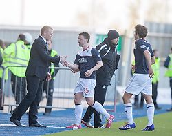 Falkirk's manager Gary Holt and Falkirk's Mark Millar at the end.<br /> Falkirk 2 v 1 Raith Rovers, Scottish Championship game played today at The Falkirk Stadium.<br /> © Michael Schofield.
