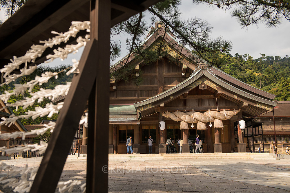 The Izumo-Taisha Grand Shrine is one of the most famous shrines in Japan and claims to be the oldest. The surrounding region of Shimane Prefecture is known as the land of the gods because the gods return to Izumo-Taisha every October and the god of fortune, O-kuninushi-no-mikoto, is housed in the shrine.