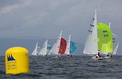 International Dragon Class Scottish Championships 2015.<br /> <br /> Day 1 racing in perfect conditions.<br /> <br /> Fleet, Downwind with GBR622, MERLIN, Robert & Christine Riddell, SCYC\<br /> <br /> Credit Marc Turner