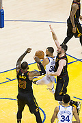 Golden State Warriors guard Stephen Curry (30) takes the ball to the basket against the Cleveland Cavaliers during Game 1 of the NBA Finals at Oracle Arena in Oakland, Calif., on May 31, 2018. (Stan Olszewski/Special to S.F. Examiner)