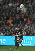 Aaron Cruden of the All Blacks kicks a conversion during the third rugby test between the All Blacks and England played at Waikato Stadium in Hamilton during the Steinlager Series - All Blacks v England, Hamiton, 21 June 2014<br /> www.photosport.co.nz
