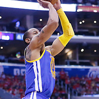 21 April 2014: Golden State Warriors forward Andre Iguodala (9) takes a jump shot during the Los Angeles Clippers 138-98 victory over the Golden State Warriors, during Game Two of the Western Conference Quarterfinals of the NBA Playoffs, at the Staples Center, Los Angeles, California, USA.