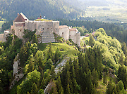 Chateau le Joux atop a hill in La Cluse-et-Mijoux in the Jura region of France