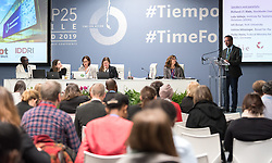 12 December 2019, Madrid, Spain: Richard J.T. Klein from the Stockholm Environment Institute (right) speaks at a side-event on Breaking new ground: Advancing loss and damage governance and finance mechanisms, at COP25.