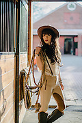 Fashion photo shoot inspired by horse riding, stables and horses