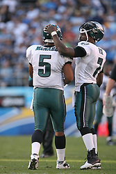 SAN DIEGO, CA - NOVEMBER 15: Donovan McNabb and Michael Vick of the Philadelphia Eagles during a game against the San Diego Chargers on November 14, 2009 at Qualcomm Stadium in San Diego, California. The Chargers won 31-23. (Photo by Hunter Martin)