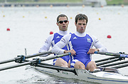 Poznan, POLAND.   2004 FISA World Cup, Malta Lake Course.  <br /> <br /> Fri. morning from the start pontoon<br /> <br /> FRA LM2X bow Pascal Touron and Frederic Dufour..<br /> <br /> 09.05.2004<br /> <br /> [Mandatory Credit:Peter SPURRIER/Intersport Images]