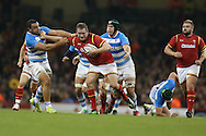 Gethin Jenkins of Wales looks to break away from the Argentina defence.  Under Armour 2016 series international rugby, Wales v Argentina at the Principality Stadium in Cardiff , South Wales on Saturday 12th November 2016. pic by Andrew Orchard, Andrew Orchard sports photography