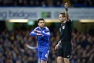Cesc Fabregas of Chelsea complains to Referee Craig Pawson for not awarding Chelsea a free kick. Barclays Premier league match, Chelsea v Norwich city at Stamford Bridge in London on Saturday 21st November 2015.<br /> pic by John Patrick Fletcher, Andrew Orchard sports photography.