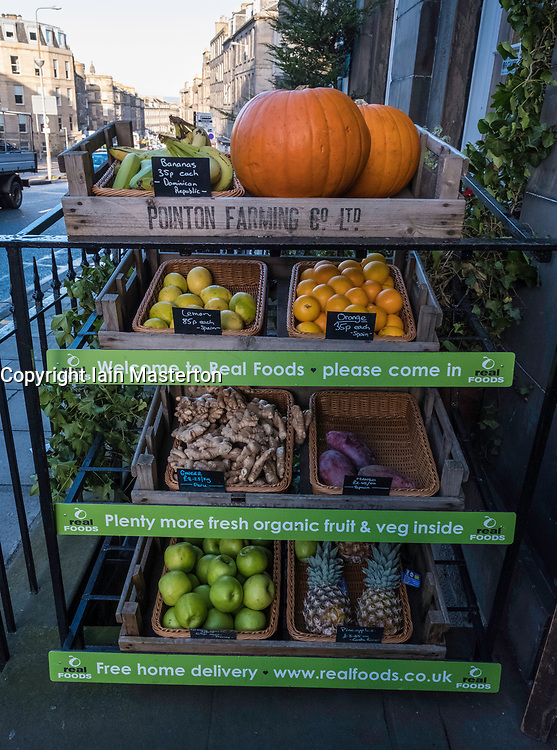 Organic fruit and vegetables on display at Real Foods organic supermarket on Broughton Street in Edinburgh, Scotland, United Kingdom.
