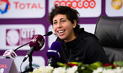 February 12, 2019 - Doha, QATAR - Carla Suarez Navarro of Spain meets kids during a Kids Press Conference at the 2019 Qatar Total Open WTA Premier tennis tournament (Credit Image: © AFP7 via ZUMA Wire)