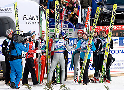 First placed team of Austria, second placed team of Norway and third placed team of Finland celebrate after Flying Hill Team Second Round at 4th day of FIS Ski Flying World Championships Planica 2010, on March 21, 2010, Planica, Slovenia.  (Photo by Vid Ponikvar / Sportida)