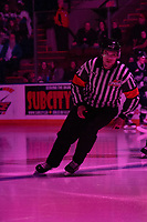 KELOWNA, BC - JANUARY 24: Referee Nick Panter warms up on the ice at the Kelowna Rockets against the Seattle Thunderbirds at Prospera Place on January 24, 2020 in Kelowna, Canada. (Photo by Marissa Baecker/Shoot the Breeze)