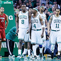 18 March 2013: Boston Celtics power forward Jeff Green (8) is congratulated by Boston Celtics shooting guard Jason Terry (4) next to Boston Celtics shooting guard Courtney Lee (11) and Boston Celtics power forward Chris Wilcox (44) during the Miami Heat 105-103 victory over the Boston Celtics at the TD Garden, Boston, Massachusetts, USA.