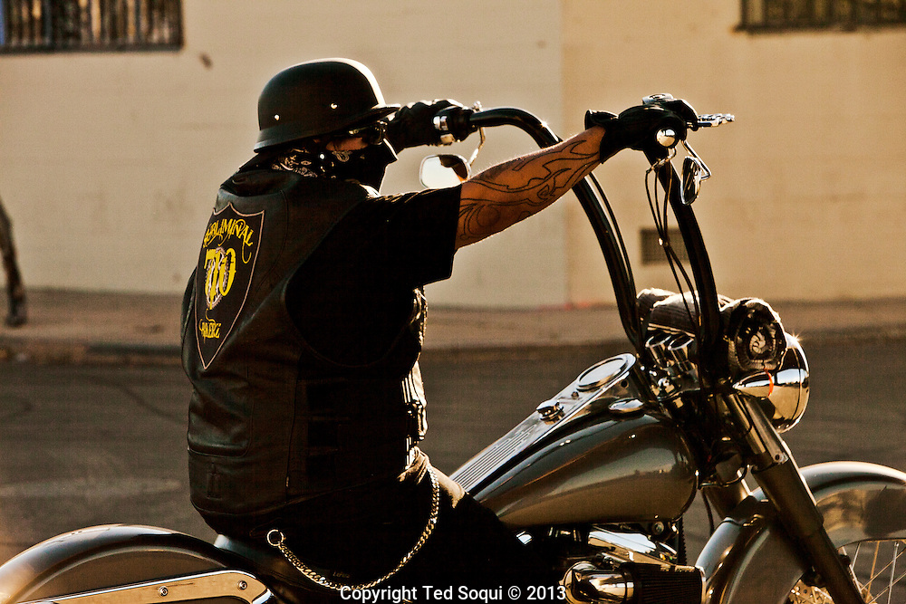 A biker on his motorcycle in downtown Los Angeles.