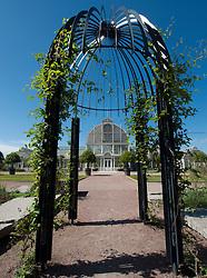 View of glasshouses in Tradgardsforeningen Park in Gothenburg Sweden
