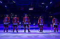 KELOWNA, BC - FEBRUARY 8: The starting line up for the Portland Winterhawks stand on the blue line during the national anthem at the Kelowna Rockets at Prospera Place on February 8, 2020 in Kelowna, Canada. (Photo by Marissa Baecker/Shoot the Breeze)