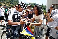 Egan Bernal (COL - Team Sky) autograph, Fans, during the 105th Tour de France 2018, Stage 11, Alberville - La Rosiere Espace Bernardo (108,5 km) on July 18th, 2018 - Photo Luca Bettini / BettiniPhoto / ProSportsImages / DPPI