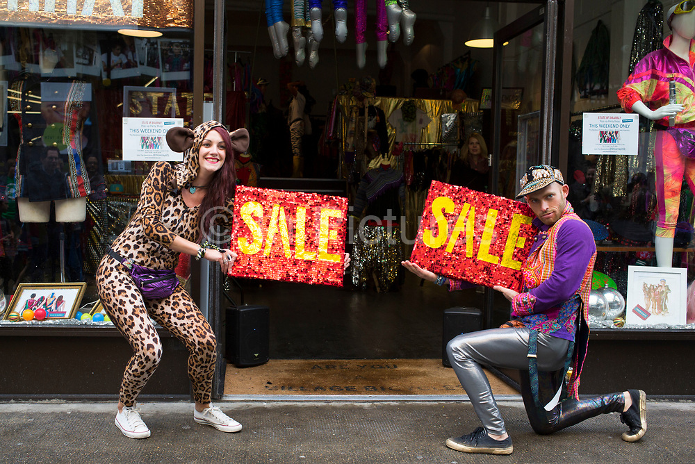 Woman dressed up as a leopard in spandex, advertising a sale at State of Disarray Pop Up Party Shop - The 'Reckless Fashion Revolution' at The Old Truman Brewery near Brick Lane. Dedicated to dressing party people and performers in the most awesome attire available in a field.