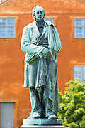 H.C. Andersen - Hans Christian Andersen - 19th Century famous writer bronze statue at Odense, Funen Island, Denmark