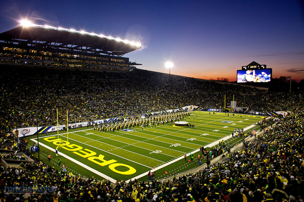 Fireworks are set off during the national anthem before the Pac-12 Football Championship game at Autzen Stadium in Eugene, OR on December 2, 2011.  (Photo by Craig Mitchelldyer/for the Pac-12)