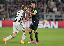 Giorgio Chiellini and Radamel Falcao during Champions League Semi-finals match between Juventus v Monaco, in Turin, on may 9, 2017.(Photo by Loris Roselli/NurPhoto) *** Please Use Credit from Credit Field ***