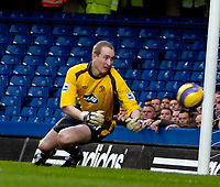 Photo: Ed Godden/Sportsbeat Images.<br />Chelsea v Wigan Athletic. The Barclays Premiership. 13/01/2007. Wigan's keeper Chris Kirkland can only watch on as Frank Lampard's free kick goes in to make it 1-0.