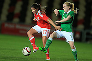 Helen Ward of Wales (l) holds off Meabh Deburca of Rep of Ireland. Friendly International Womens football, Wales Women v Republic of Ireland Women at Rodney Parade in Newport, South Wales on Friday 19th August 2016.<br /> pic by Andrew Orchard, Andrew Orchard sports photography.