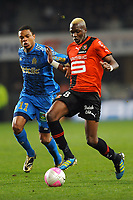 FOOTBALL - FRENCH CHAMPIONSHIP 2011/2012 - L1 - STADE RENNAIS v OLYMPIQUE MARSEILLE - 29/01/2012 - PHOTO PASCAL ALLEE / DPPI - TONGO HAMED DOUMBIA (REN) / LOIC REMY (OM)