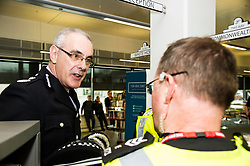 Pictured: Chief Constable Phil Gormley chatted to Sargant Kevin Smith <br /> Police Scotl<br /> and Chief Constable Phil Gormley unveiled details of the 'Your View Counts' exercise, which will help shape policing priorities throughout the country in Edinburgh today. <br /> Ger Harley   EEm 7 April 2016