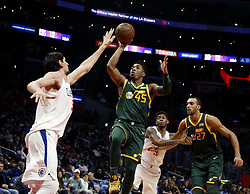 January 16, 2019 - Los Angeles, California, U.S - Utah Jazz's Donovan Mitchell (45) shoots against Los Angeles ClippersÃ• Boban Marjanovic (51) during an NBA basketball game between Los Angeles Clippers and Utah Jazz Wednesday, Jan. 16, 2019, in Los Angeles. (Credit Image: © Ringo Chiu/ZUMA Wire)