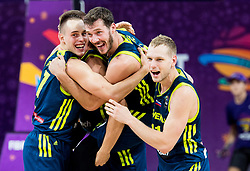 Edo Muric of Slovenia, Klemen Prepelic of Slovenia, Goran Dragic of Slovenia and Jaka Blazic of Slovenia celebrate after winning during basketball match between National Teams of Slovenia and Spain at Day 15 in Semifinal of the FIBA EuroBasket 2017 at Sinan Erdem Dome in Istanbul, Turkey on September 14, 2017. Photo by Vid Ponikvar / Sportida