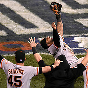 San Francisco Giants third baseman Pablo Sandoval (48) celebrated the final out against the Kansas City Royals during Wednesday's Game 7 of the World Series on October 30, 2014 at Kauffman Stadium in Kansas City, Mo. The Giants won, 3-2.