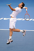 Brisbane, Australia, December 30: Tommy Haas of Germany jumps to hit the ball during a training session at Pat Rafter Arena ahead of the 2012 Brisbane International Tennis Tournament in Brisbane, Australia on Friday December 30th, 2011. (Photo: Matt Roberts/Photo News)