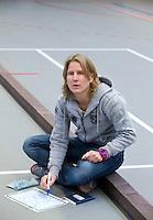 ARNHEM - SCHC-coach Janneke Schopman. . SCHC dames tijdens de eerste dag van de zaalhockey competitie in de hoofdklasse, seizoen 2013/2014. COPYRIGHT  KOEN SUYK