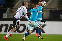 TRONDHEIM, NORWAY - NOVEMBER 02, 2017. UEFA Europa League, round 4: Rosenborg BK (Norway) 1-1 Zenit St Petersburg (Russia). Rosenborg's Tore Reginiussen (L) and Zenit St Petersburg's Aleksandr Kokorin (R).