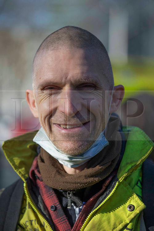 Licensed to London News Pictures. 26/02/2021. London, UK. Dr Larch Maxey is seen in Euston Square Gardens before the last protestor Bradley is removed from the Euston Square Gardens' tunnel in central London after a month later. Photo credit: Marcin Nowak/LNP
