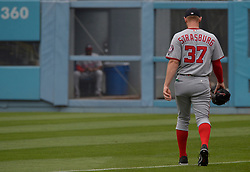 June 7, 2017 - Los Angeles, California, U.S. - Washington Nationals starting pitcher Stephen Strasburg make his way to the outfield prior to a Major League baseball game against the Los Angeles Dodgers at Dodger Stadium on Wednesday, June 7, 2017 in Los Angeles. (Photo by Keith Birmingham, Pasadena Star-News/SCNG) (Credit Image: © San Gabriel Valley Tribune via ZUMA Wire)