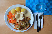 Fresh cod served at the railwaystation at Fauske, Norway. It is more rare to get homemade, tasty food like this.