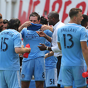 HARRISON, NEW JERSEY- JULY 24:  NYCFC coach Patrick Vieira talking to his players including Frank Lampard #8 and Andrea Pirlo #21 of New York City FC during a drinks break in searing heat during the New York Red Bulls Vs New York City FC MLS regular season match at Red Bull Arena, Harrison, New Jersey on July 24, 2016 in Harrison, New Jersey. (Photo by Tim Clayton/Corbis via Getty Images)
