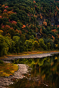 Autumn Foliage clings to the cliffs of the Susquehanna River Canyon in Falls.