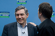 Scottish crime writer Ian Rankin patting British Prime Minister Gordon Brown on the shoulder before they attended the 25th anniversary opening event at the Edinburgh International Book Festival. The event is the world's biggest literary festival and is held during the annual Edinburgh Festival. 2008 was the Book Festival's 25th anniversary and featured talks and presentations by more than 500 authors from around the world.