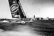 Image licensed to Lloyd Images<br /> The Extreme Sailing Series 2015. Act4 - Cardiff.UK<br /> Land Rover Corporate Sailing<br /> Credit: Lloyd Images