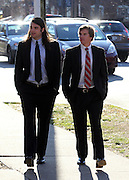 CHARLOTTESVILLE, VA - FEBRUARY 15: Former UVa lacrosse players Ken Clausen, left, and Kevin Carroll, right, testified on the witness stand during the George Huguely trial. Huguely was charged in the May 2010 death of his girlfriend Yeardley Love. She was a member of the Virginia women's lacrosse team. Huguely pleaded not guilty to first-degree murder. (Credit Image: © Andrew Shurtlef