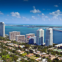 Aerial view of bayfront high rise condominium building, located along Brickell Avenue in Miami, Florida.