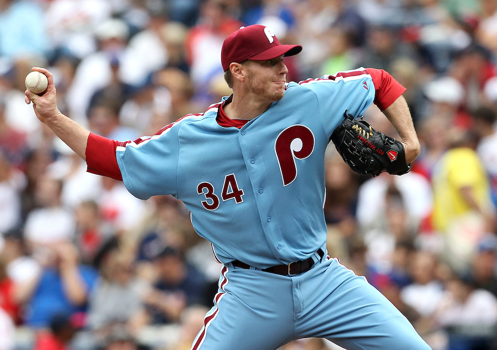 ATLANTA, GA - MAY 15:  Pitcher Roy Halladay #34 of the Philadelphia Phillies throws a pitch during the MLB Civil Rights Game against the Atlanta Braves on Sunday, May 15, 2011 at Turner Field in Atlanta, Georgia.  (Photo by Mike Zarrilli/MLB Photos via Getty Images)