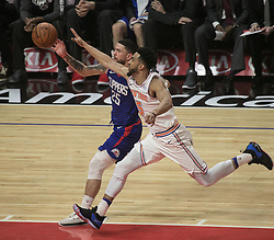 March 2, 2018 - Los Angeles, California, U.S - Austin Rivers #25 of the Los Angeles Clippers battles for the ball with Courtney Lee #5 of the New York Knicks during their NBA game on Friday March 2, 2018 at the Staples Center in Los Angeles, California. Clippers defeat Knicks, 128-105. (Credit Image: © Prensa Internacional via ZUMA Wire)